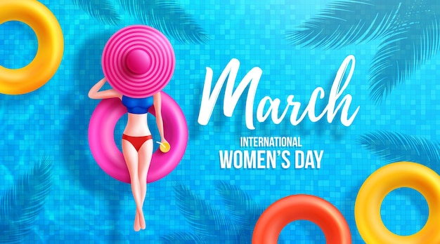 8 de março dia da mulher cartaz ou faixa pelo símbolo de 8 de mulheres em carros alegóricos de piscina redonda e grande chapéu na piscina.