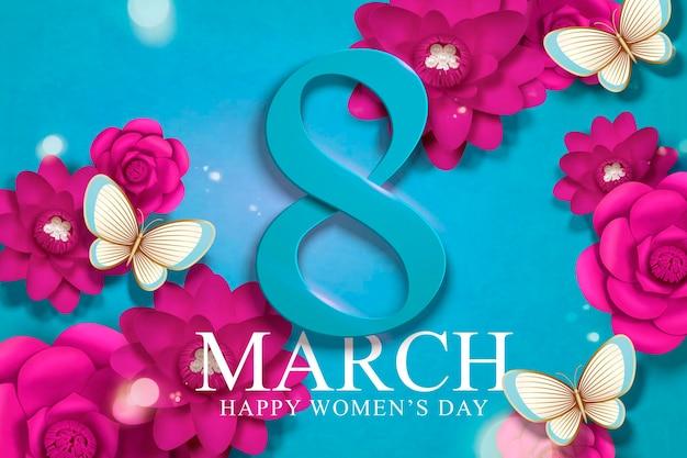 8 de março dia da mulher com flores de cor fúcsia em artesanato de papel