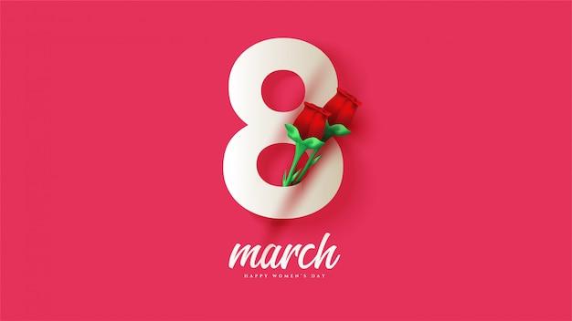 8 de março dia da mulher, com ilustrações de números brancos com rosas vermelhas