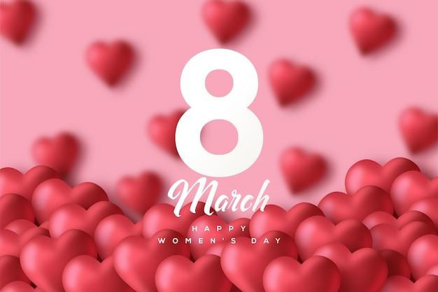 8 de março dia da mulher com números brancos em um fundo rosa decorado com balões