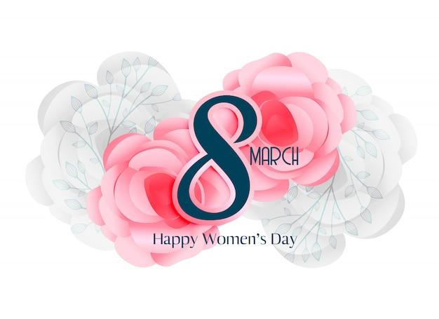 8 de março dia das mulheres belo design de cartão
