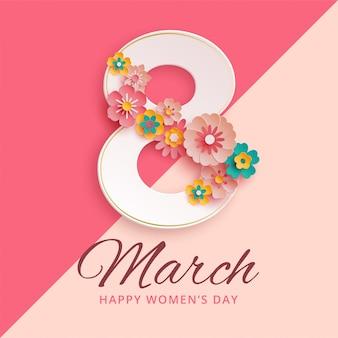 8 de março dia internacional da mulher com flores de papel
