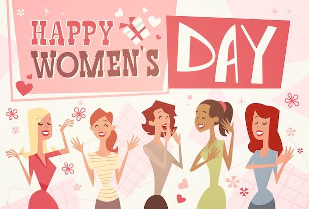 8 de março dia internacional das mulheres cartão poster retro
