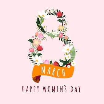 8 de março feliz dia da mulher cartão