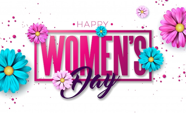 8 de março. feliz dia das mulheres cartão floral.