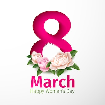 8 de março, feriado do dia da mulher com flores peônia cortadas em papel