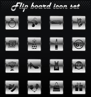 8 de março flip ícones mecânicos para design de interface de usuário