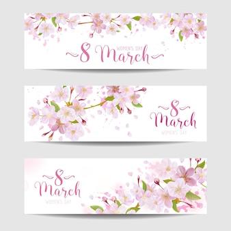8 de março - modelo de cartão de felicitações do dia da mulher - banner de primavera - em