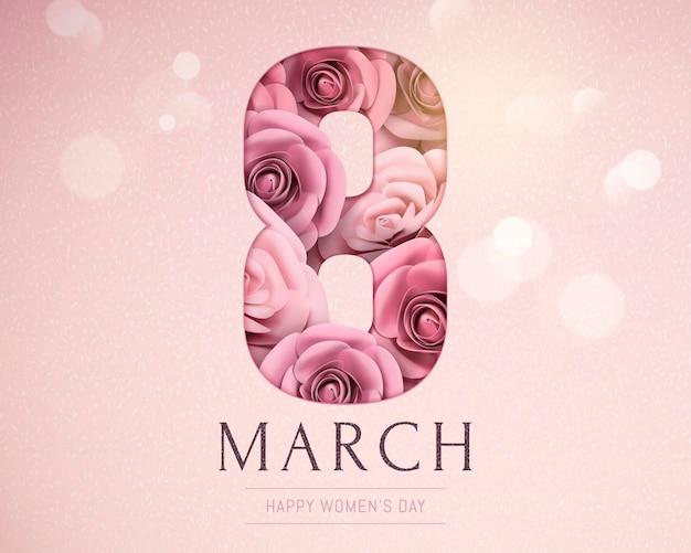 8 de março modelo de feliz dia da mulher com rosas de papel em efeito bokeh