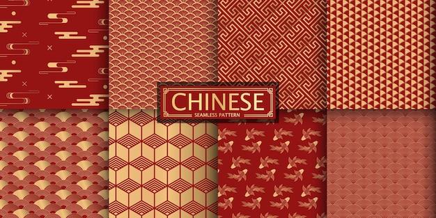 8 diferentes padrões sem emenda do vetor chinês.