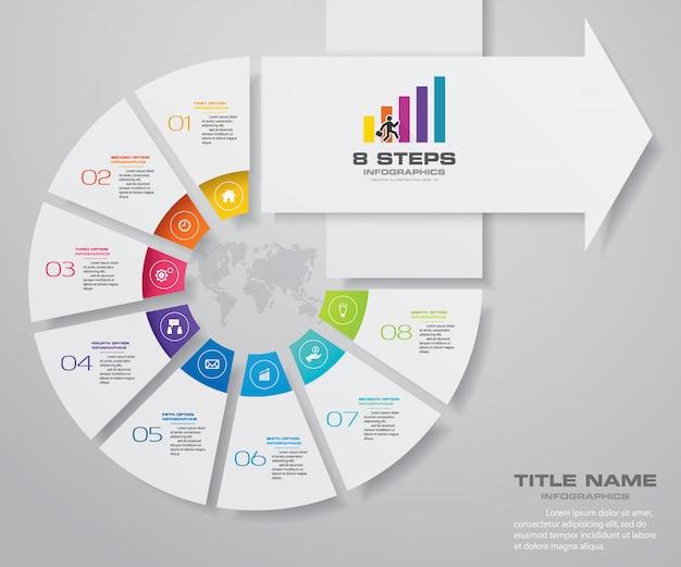 8 etapas do modelo de infografia de seta.