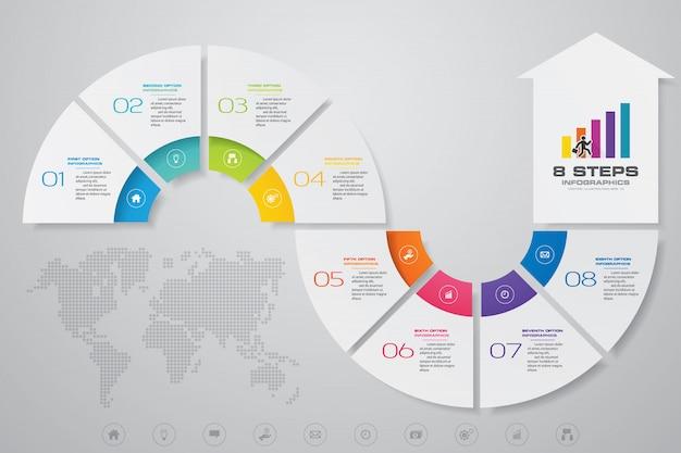 8 etapas infográficos elemento seta modelo gráfico.