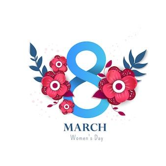 8 ilustração de número 3d com flores