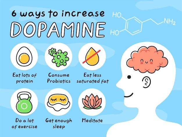 8 maneiras de aumentar o infográfico de dopamina