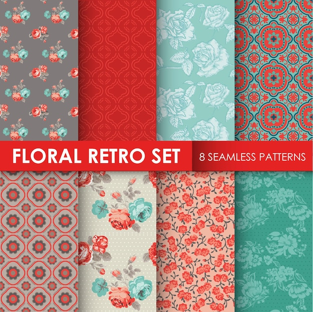 8 seamless patterns floral retro set textura para papel de parede