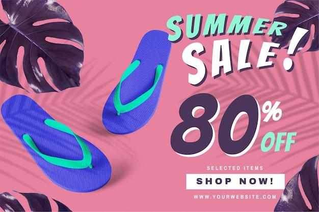80% de desconto no anúncio de promoção de promoção de verão