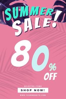 80% de desconto no anúncio de promoção de venda de verão de vetor