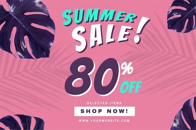 80% de desconto no anúncio de promoção de vetor de venda de verão