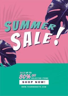 80% de desconto no vetor de promoção de venda de verão
