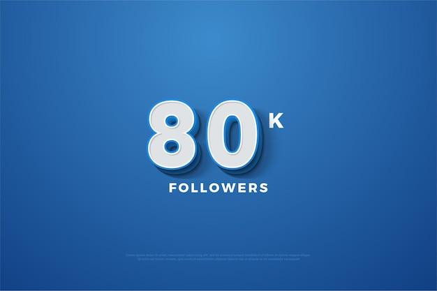 80 mil seguidores com número 3d em um fundo azul marinho Vetor Premium