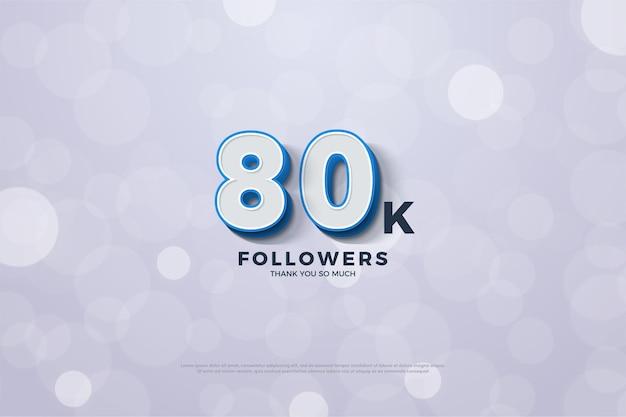 80 mil seguidores delimitados por um número azul escuro