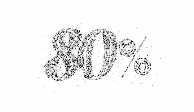 80% off banner de desconto na venda de partículas. desconto na etiqueta de preço da oferta. ilustração em vetor etiqueta moderna.
