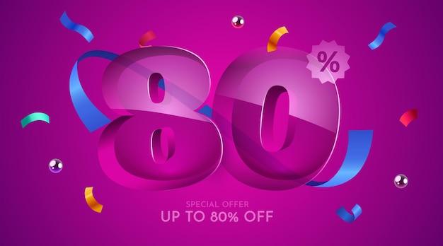 80 por cento de desconto na composição criativa mega símbolo de venda