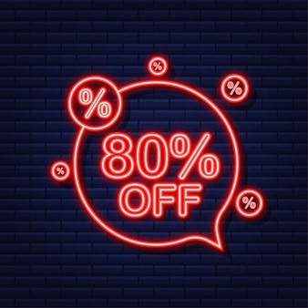 80 por cento fora do banner de desconto de venda. ícone de néon. desconto na etiqueta de preço da oferta. ilustração vetorial.