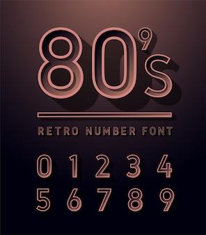 80's number copper colour vintage sans serif alphabet