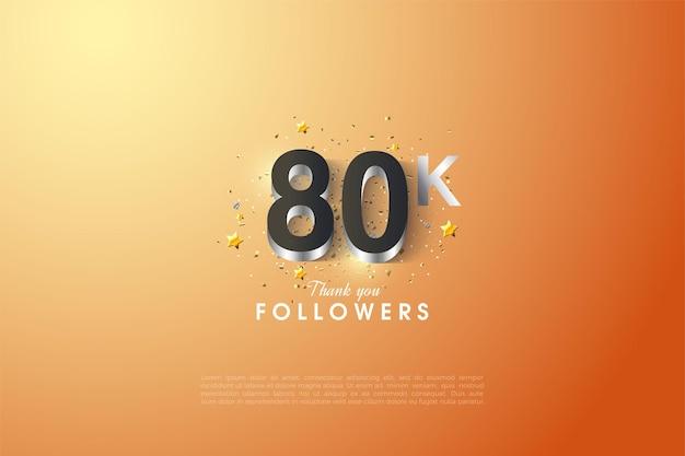 80k seguidores com ilustração de figuras prateadas brilhantes.