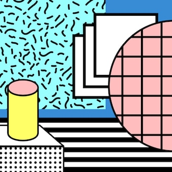 80s block colorful geometric stylish background