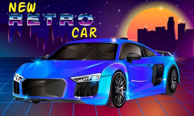 80s retro sci-fi carro. ilustração retro da onda do synth futurista retro do vetor no estilo dos anos 80.