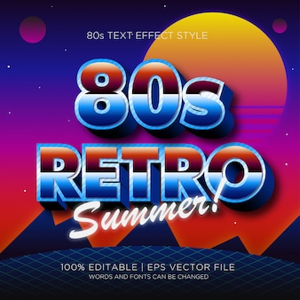 80s retro summer text effect