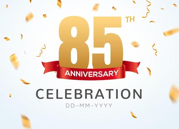85 números de aniversário de ouro com confete dourado. modelo de festa de evento de 85º aniversário de celebração.