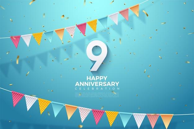 9º aniversário com número 3d.