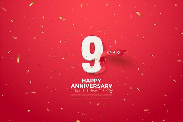 9º aniversário com número e uma curva de fita vermelha