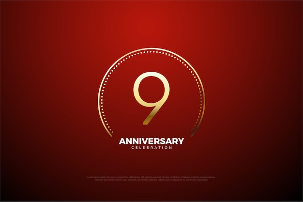 9º aniversário com pontos e listras circulares dourados.