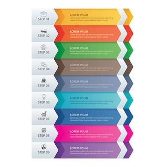 9 dados infográficos guia papel modelo de seta.