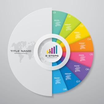 9 elementos de infográficos de gráfico de ciclo de passos.