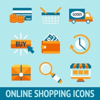 9 ícones cerca de compras on-line