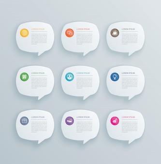 9 infográficos com design de modelo de discurso de bolha.