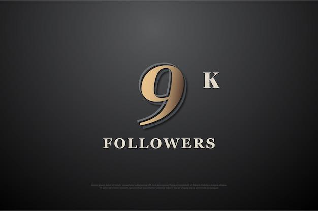 9 mil seguidores com números acastanhados em fundo escuro
