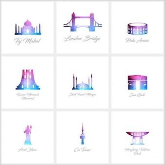 9 monumento logo set polygon