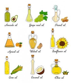 9 óleos de cozinha em garrafas esboçadas fofas