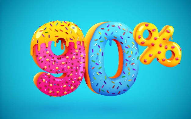 90% de desconto na composição de sobremesas 3d símbolo de mega venda com números de rosquinhas doces voadoras