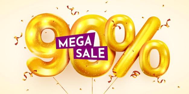 90 por cento de desconto na composição criativa da mega venda de balões dourados ou bônus de noventa por cento