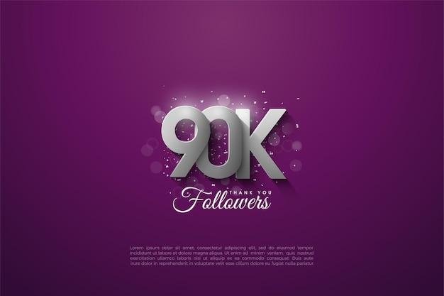 90k seguidores com números de prata dimensional em fundo roxo.