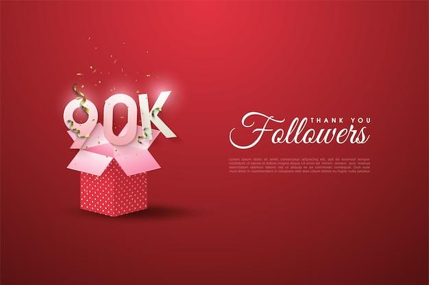 90k seguidores com números ilustrados em caixas de presente abertas.