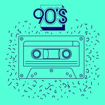 90s, etiqueta, com, retro, cassete