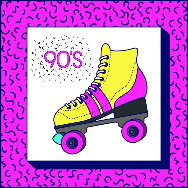 90s, etiqueta, com, retro, patim